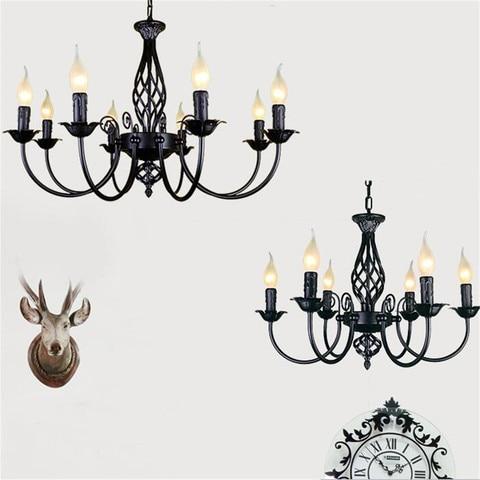 industrial lustre de ferro forjado 3 4 5 6 lustres luz castical do vintage preto