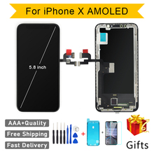 איכות AAA AMOLED GX לא מת פיקסל עבור IPhone X LCD תצוגת מסך מגע 5.8 אינץ Digitizer עצרת החלפת LCD pantalla