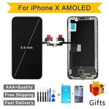 جودة AAA AMOLED GX لا الميت بكسل آيفون X شاشة إل سي دي باللمس شاشة 5.8 بوصة محول الأرقام الجمعية استبدال LCD بانتيلا