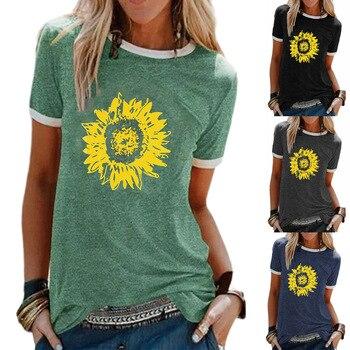 Camiseta de manga corta para mujer, top estampado de girasol, cuello redondo, 2020