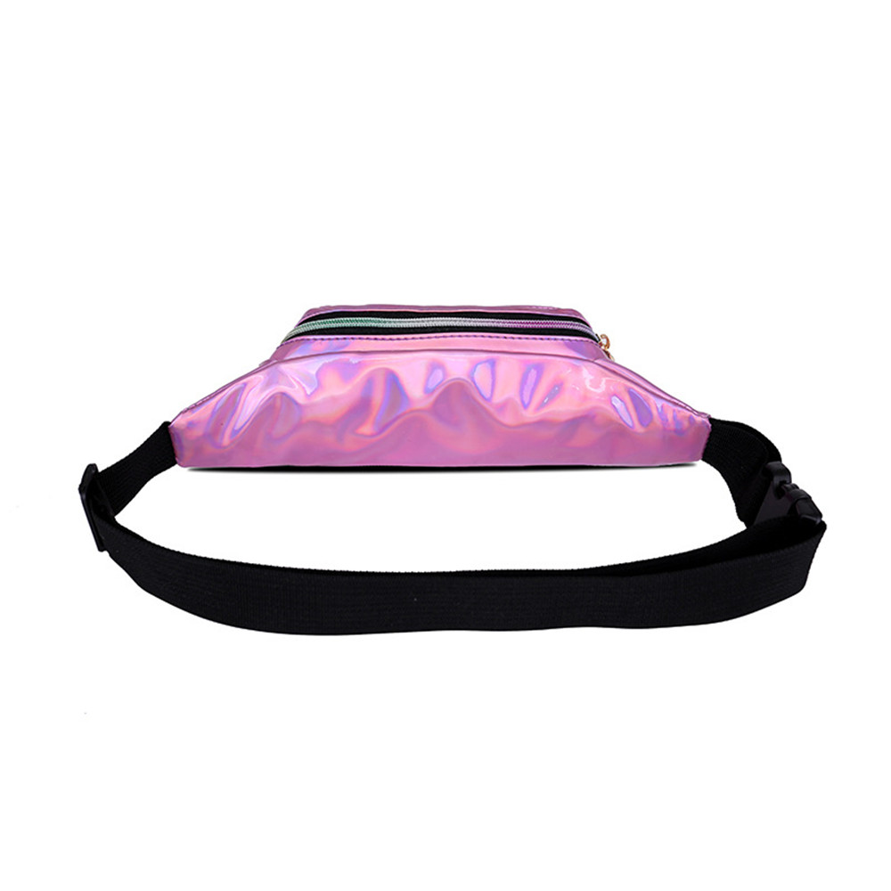 Holographic Waist Bags Women Pink Silver Fanny Pack Female Belt Bag Black Geometric Waist Packs Laser Chest Phone Pouch