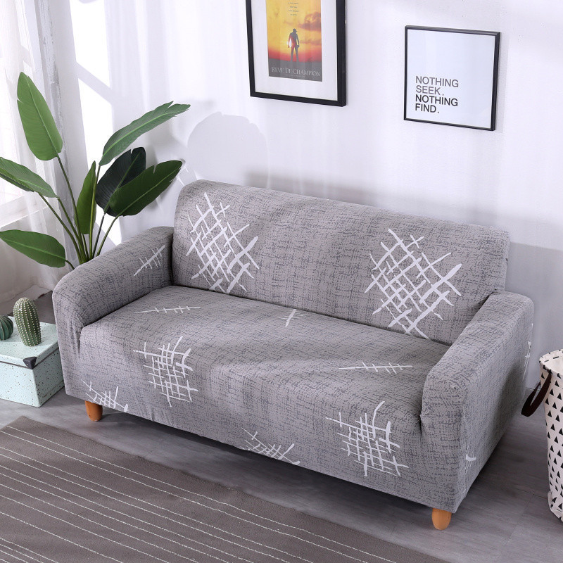 Stretchable Sofa Cover with Elastic for Sectional Couch Protects Sofa from Stains Damage and Dust 23