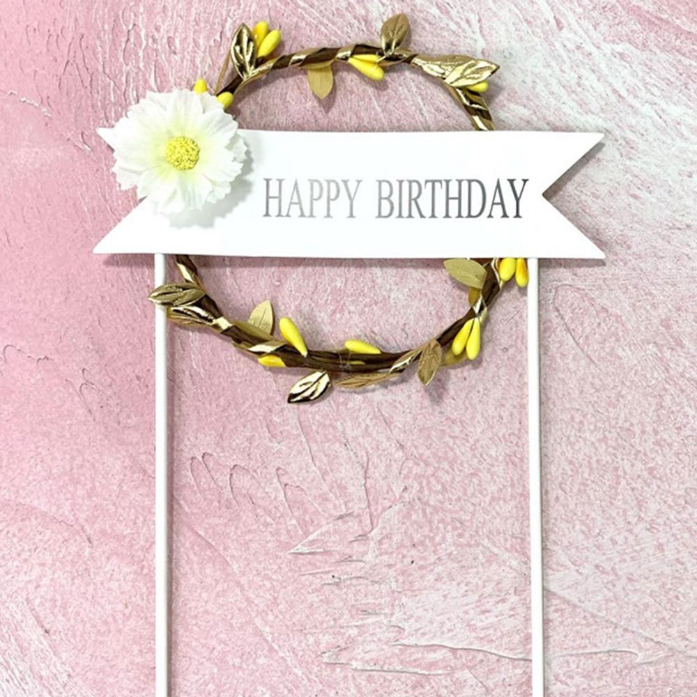 1 шт. цветочный венок торт Топпер светодиодный светящийся День рождения украшение душевой кабины для малышей DIY выпечки Торт Топ флаги вставки поставки