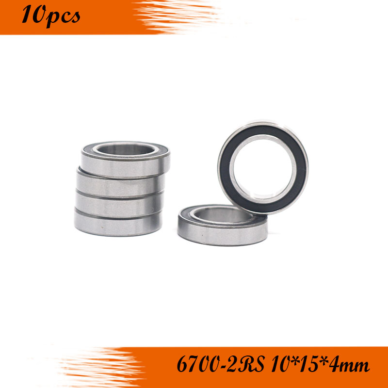 <font><b>6700RS</b></font> Bearing ABEC-5 (10PCS) 10x15x4 mm Thin Section 6700-2RS Ball Bearings 61700 RS 6700 2RS image