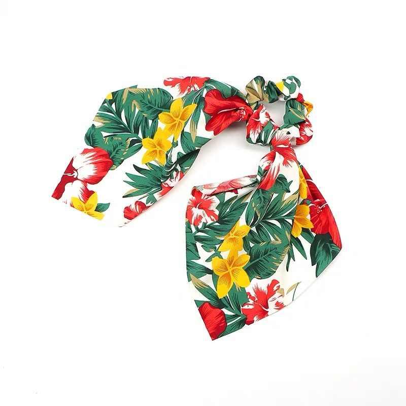 Moda wstążka dziewczyna opaski do włosów Scrunchies wstążka z nadrukiem kokarda gumki do włosów kobiety elastyczna opaska do włosów kucyk szalik gumki do włosów