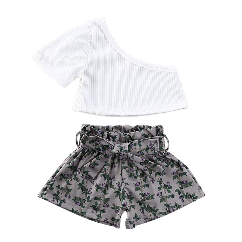 3pcs Baby Summer Clothing One Shoulder Ribbed Knitted T-shirts Tops Floral Shorts Headband Outfit Toddler Kids Girls Clothing
