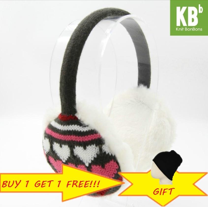 2018 KBB Spring 3 Colors Heart Pattern Fashion Lady Children Kids Women Men Knit Warm Plush Faux Fur Winter Earmuffs Ear Muffs