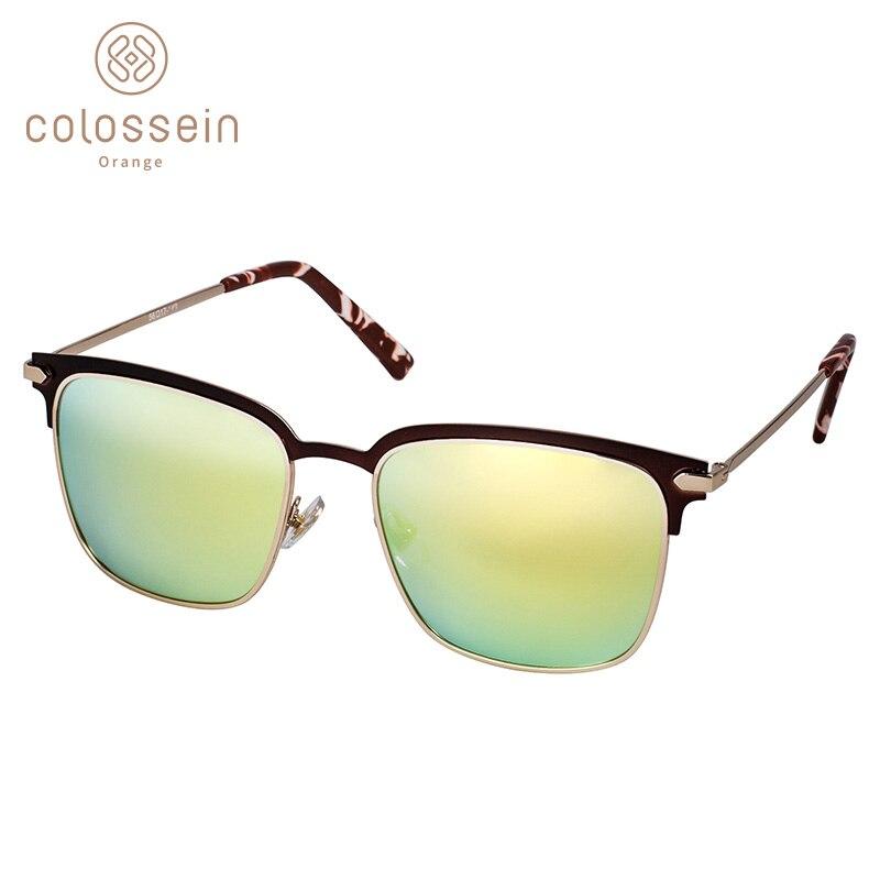 COLOSSEIN lunettes de soleil femmes polarisées classique lunettes de soleil pour hommes carré métal demi-cadre miroir lentille conduite partie style UV400