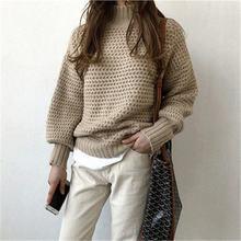 Женский толстый свитер с высоким воротом повседневный вязаный