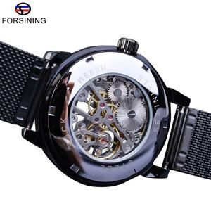 Image 4 - Forsining Retro Fashion Design Skeleton Sport Mechanical Watch Luminous Hands Transparent Mesh Bracelet For Men Top Brand Luxury