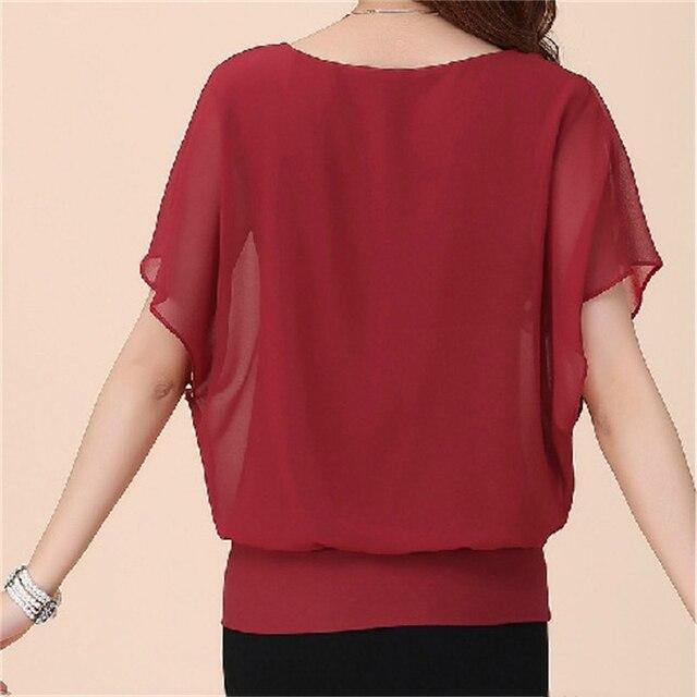 Summer Casual Short Sleeve Women Blouse 5XL Plus Size Chiffon Blouses Beach Shirt Office Work Loose Shirts Blusas Feminina Tops 3