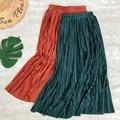 Новые 2021 женские миди юбки плиссе металлик Цвет блестящие Длинные Юбки Повседневная юбка для женщин Цвет Фул до середины икры юбка вечерние...