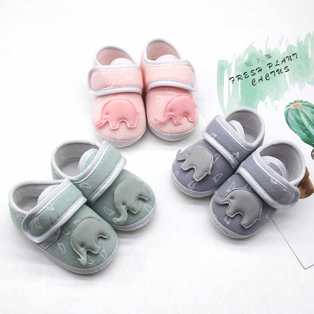 2020 New baby shoes fashion Infant Newborn Baby Girls Boy Prewalker Printing Elephant Applique Single Shoes детская обувь#yl