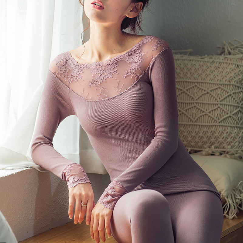 Sexy Lace Slim Thermal Underwear Sets Women's Pyjamas Autumn Winter Warm Seamless Body Thin Ladies Elasticity Thermal Long Johns