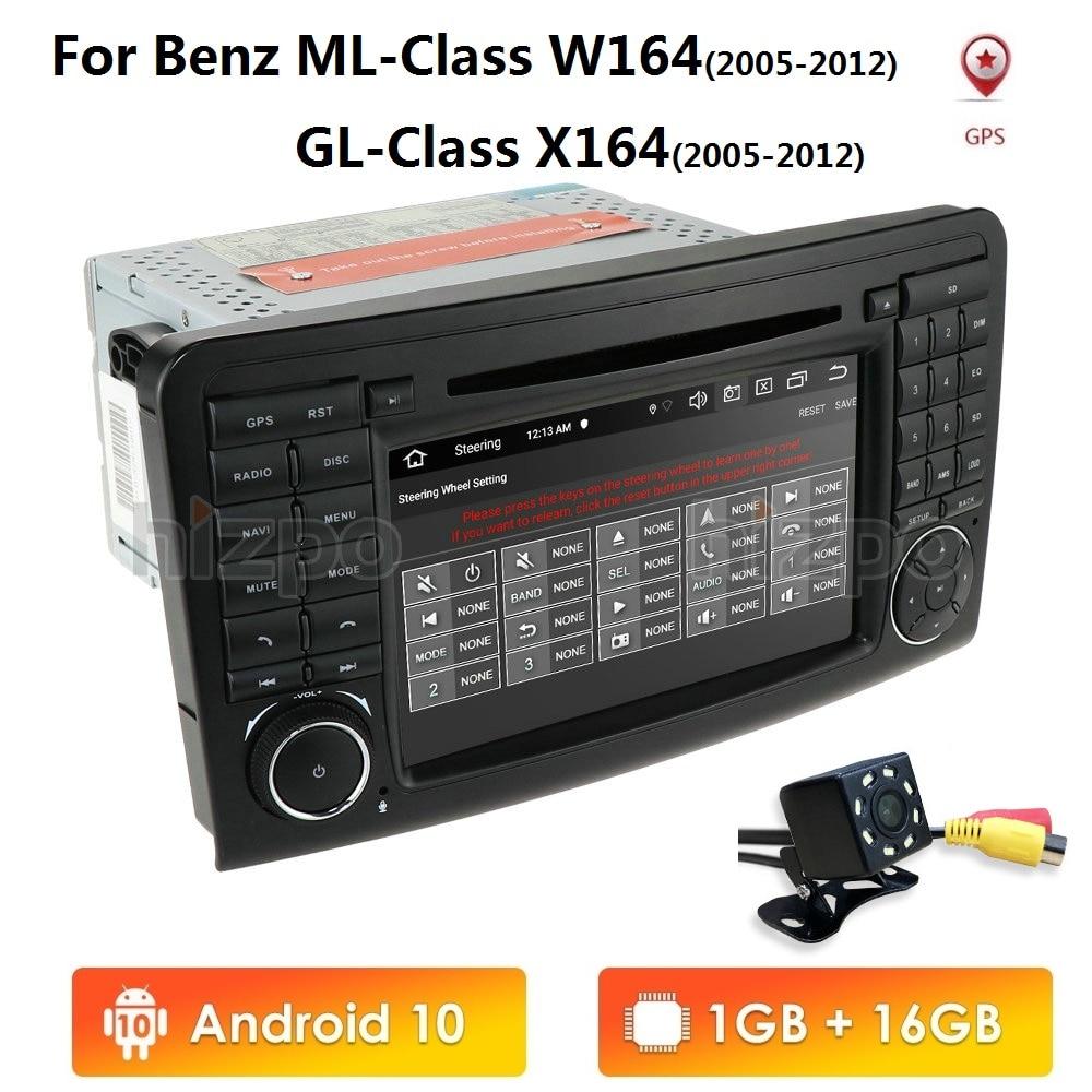 2 Din 7 inç android 10.0 araç DVD oynatıcı oynatıcı GPS Mercedes/Benz/GL ML sınıf W164 ML350 radyo çelik jant kontrolü RDS DAB + kamera