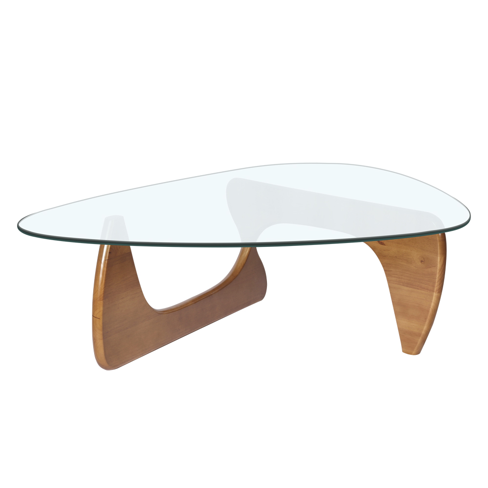 Modern Triangle Tea Table Tempered Glass Desktop Wood Leg Living Room Desk , Fast shipping from Germany