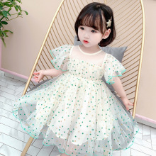2020 girl's Polka Dot flying-sleeve dress summer version dress princess dress  kids dresses for girls polka dot zip up side dress