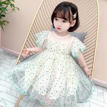 цена на 2020 girl's Polka Dot flying-sleeve dress summer version dress princess dress  kids dresses for girls