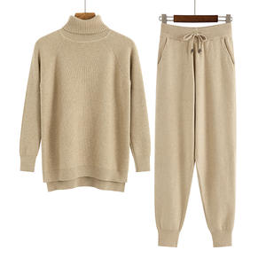 Women Knitted Outwear Tracksuit Sweater Set Pullover Jogging-Pants Carrot GIGOGOU 2pieces-Set