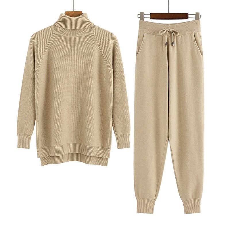 GIGOGOU 2 parça Set kadın örme eşofman balıkçı yaka kazak + havuç koşu pantolonları kazak kazak seti şık örme dış giyim