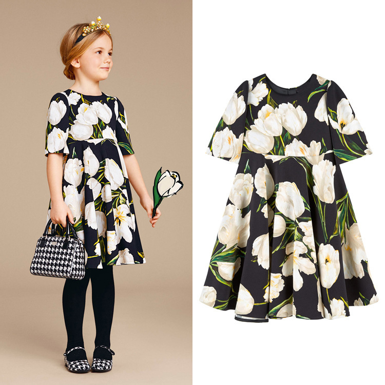 BORUMEX 2019 summer new childrens dress tulip flower princess European and American style  girls