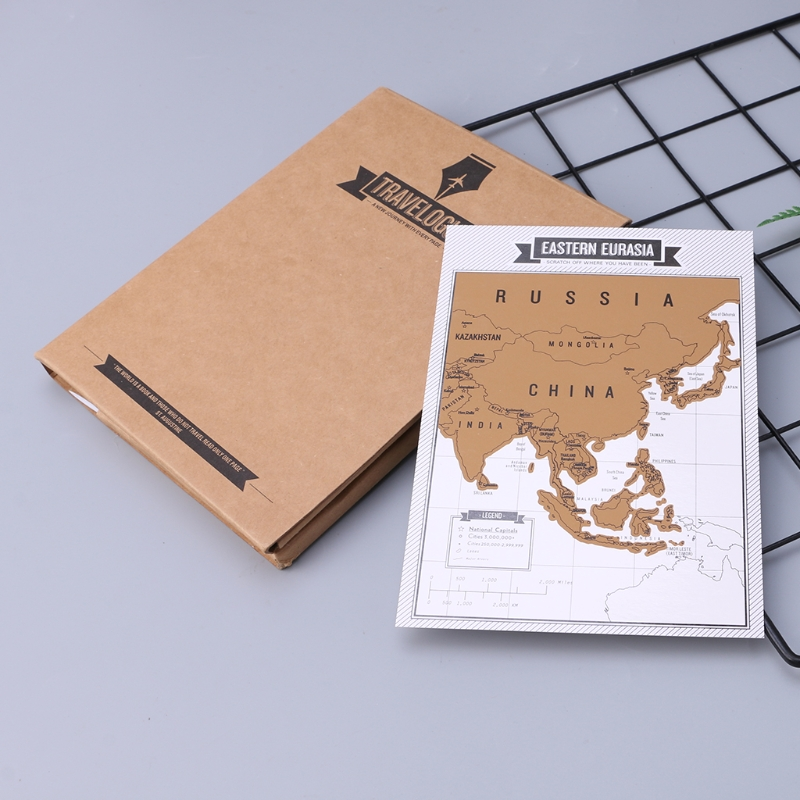 1 Pc High Quality Fashion Travel Notebook Journal Diary Notebooks Scratch Map Popular Travel City 8 World Maps Travelogue