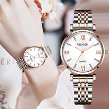 Luxury Women's Wristwatch Diamond Rose Gold Stainless Steel Bracelet Business Quartz Wrist