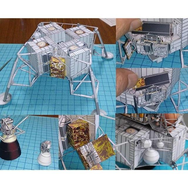Space Fine Apollo 13 Lunar Module DIY 3D Paper Card Model Building Sets Construction Handmade Toys Educational Toys Model 5