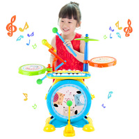 Children Music Light Jazz Drum with Microphone Electronic Keyboard Percussion Drum Kit Rock Early Education Toy