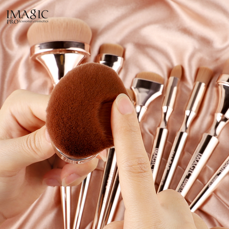 IMAGIC 9pcs Makeup Brushes Kit Soft Nylon Hair Partij Blending Brush Metallic Handle Maquillaje Profesional Oogschaduw Tools Set 3