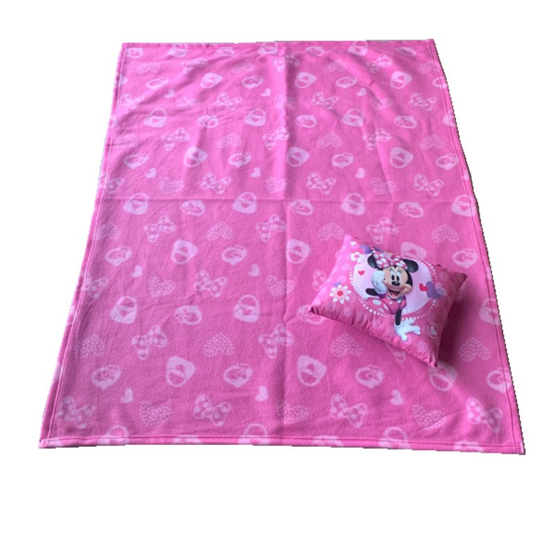 Couverture et oreiller congelés Disney Minnie Mouse | Ensemble housse de lit Super douce, pour bébés tout-petits, cadeau pour lit d'enfants
