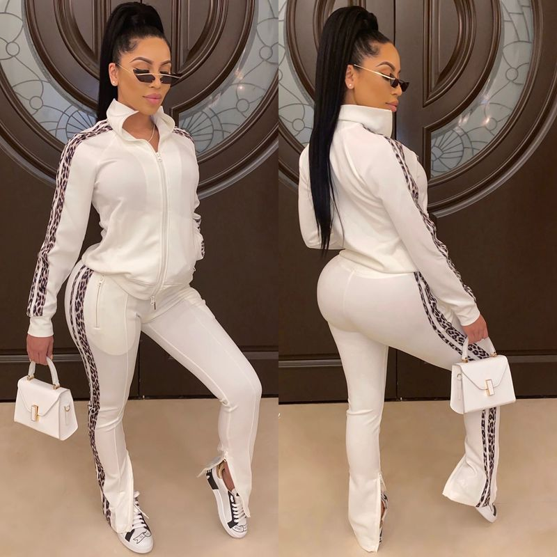 HAOYUAN Side Leopard Print Two Piece Set Tracksuit Women Top Jogger Pant Sweat Suits Matching Sets 2 Piece Fall Winter Outfits