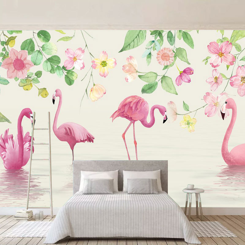 3D Ручная роспись Фламинго обои в европейском стиле сердце девушки спальня стены обои гостиная телевизор фон
