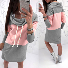 Autumn Winter Hoodie Dress Women Clothes Fashion Bow Neck Long Sleeve Loose Grey Pink Patchwork Female Dresses