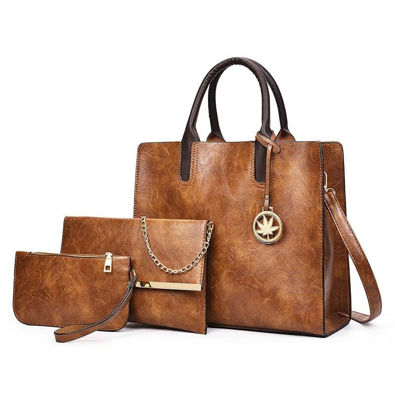 3 шт./компл., вместительные сумки через плечо для женщин, винтажная женская сумка из искусственной кожи, модная сумка на плечо, женская сумочк...