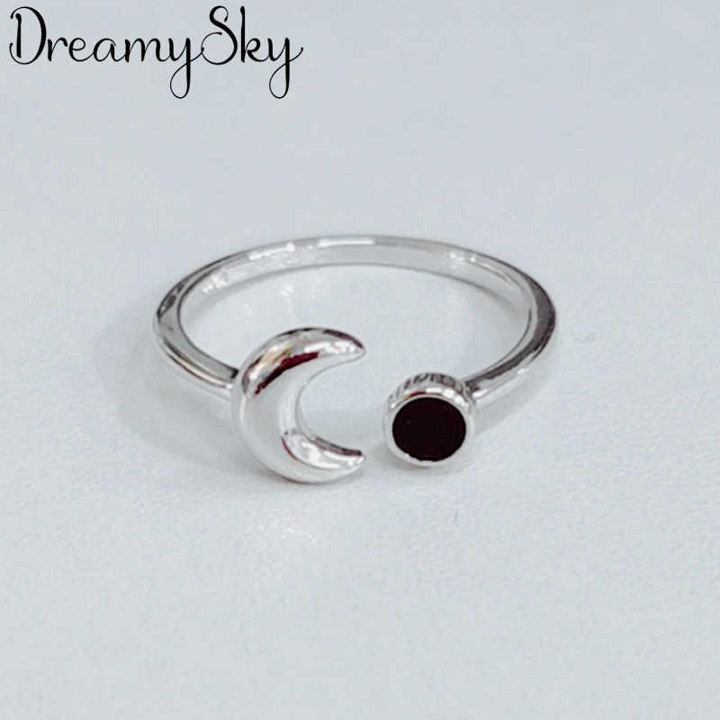 Dreamysky novo na moda 925 prata esterlina lua anéis para mulheres boho vintage jóias tamanho ajustável dedo anéis