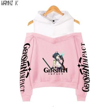 Genshin Impact Crop Shoulder hoodies womens Sweatshirts Pullover Off-shoulder Harajuku girl's hooded fashion Tracksuit Oversized 1