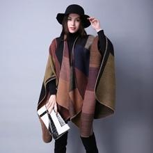Manta Reversible de Invierno para mujer, suéter a cuadros, Poncho, capa, chal y chal, cárdigans gruesos, bufanda de pashmina cálida