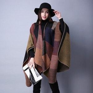 Image 1 - Manta Reversible de Invierno para mujer, suéter a cuadros, Poncho, capa, chal y chal, cárdigans gruesos, bufanda de pashmina cálida