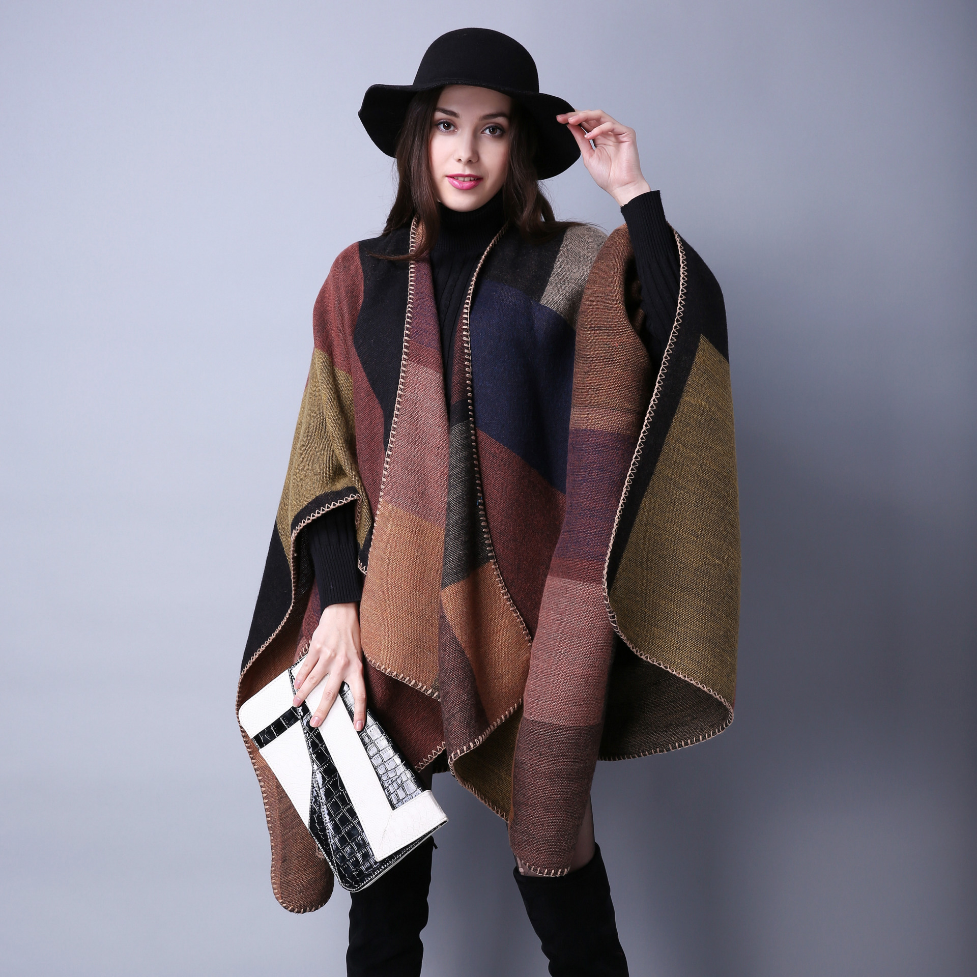Women's Winter Reversible Oversized Blanket Plaid Sweater Poncho Cape Shawl And Wraps Cardigans Thicken Warm Pashmina Scarf