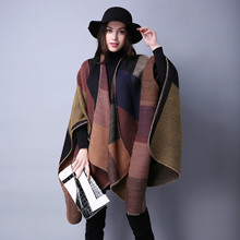 Womens Winter Reversible Oversized Blanket Plaid Sweater Poncho Cape Shawl and wraps Cardigans Thicken warm pashmina scarf