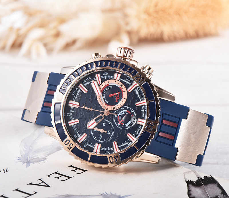 Sıcak silikon adam Chronograph erkek saatler lüks üst marka quartz saat mavi askeri spor kol saati Relogios saat
