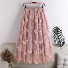 Women Flower 3D Embroidery Long Skirt Double Mesh Large Swing Princess Fairy Skirts High Waist A-Line Pleated Jupe Faldas Largas