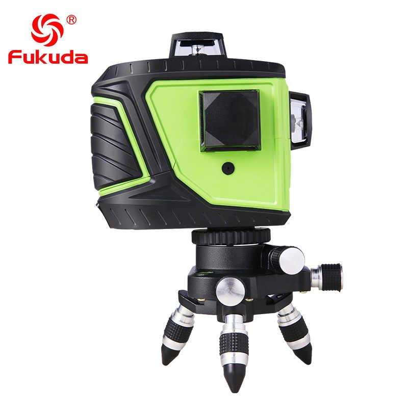 Fukuda marka 12 satır 3D MW-93T lazer seviyesi kendini tesviye 360 yatay dikey çapraz süper güçlü kırmızı lazer ışını hattı CE