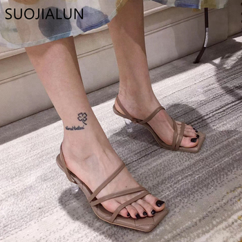 цены SUOJIALUN Sandal Fashion PVC Jelly Crystal Heel Transparent Women Sandals Ladies Sexy High Heels Summer Sandals Pumps Shoes