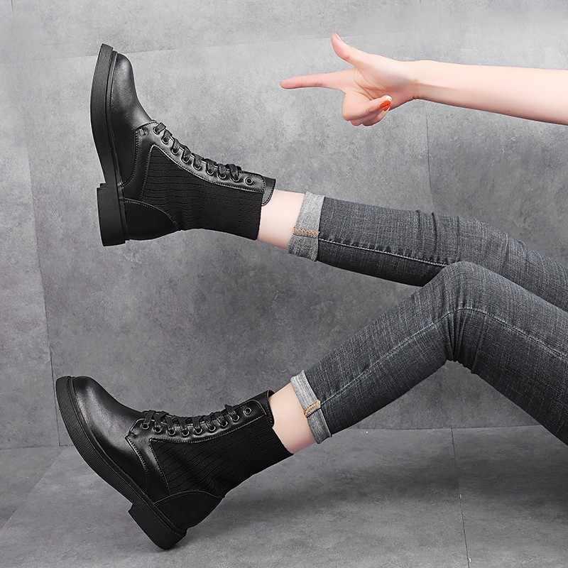 LZJ Zapatos Mujer Mới Giày Bốt Nữ Da Cá Martens Giày cho Nữ DR Xe Máy Giày Lông Ấm Áp Mùa Đông Cặp Đôi giày
