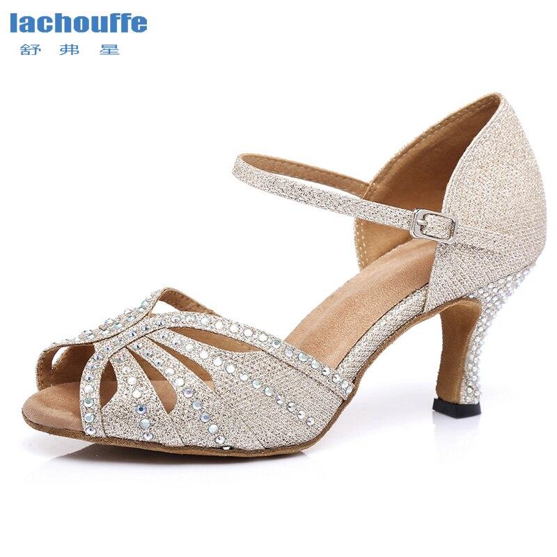 Women Glitter Latin Dance Shoes Woman Rhineston Salsa Ballroom Tango Dancing Shoes For Girls Soft Bottom Party  Dance Sandals