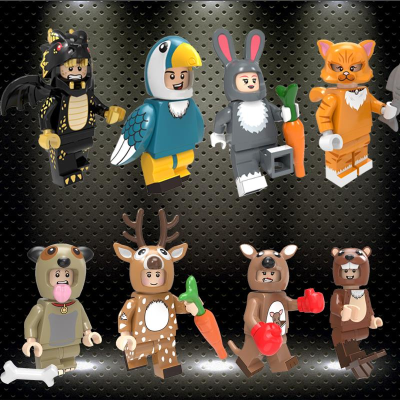 Ed PG8223 Cartoon Figures Pumping Series Toucan Deer Kangaroo Rabbit Cat Building Blocks Model Toys For Children Gifts