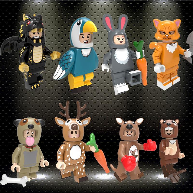 Ed PG8223 Cartoon Figures Pumping Series Toucan Deer Kangaroo Rabbit Cat Building Blocks Model Toys For Children Gifts
