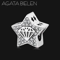 Горячая 925 пробы серебряные блестящие Шарм-Звезда бусины талисманы металлические бусины подходят талисманы оригинальный Pandora браслет ожер...